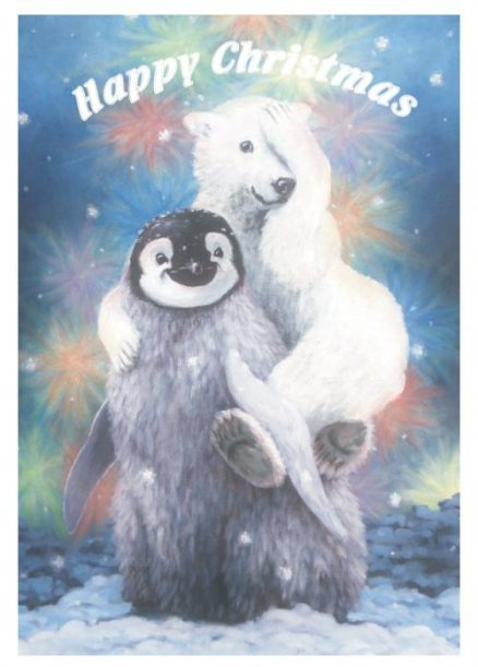 Fluffy the penguin and Minty polar bear card