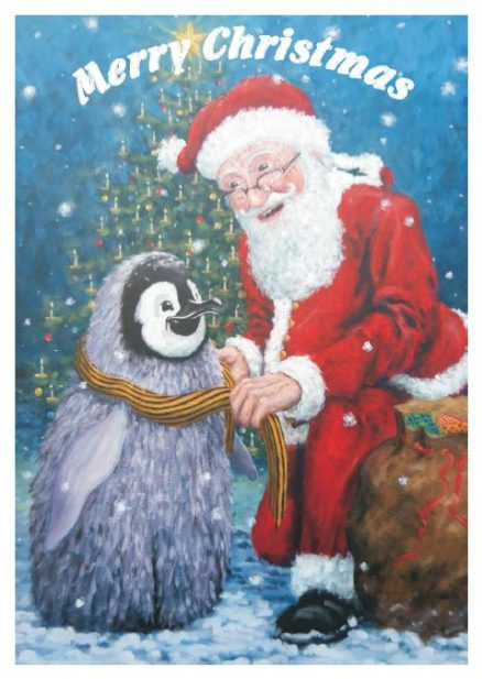 Fluffy the penguin and Santa card