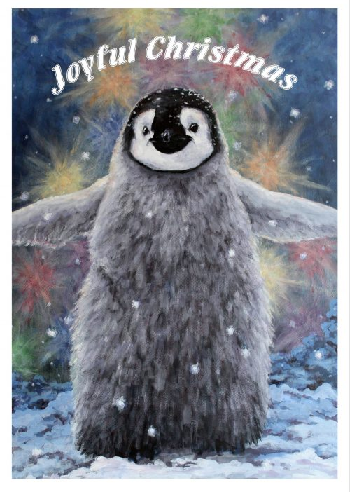 Fluffy Hugs a Christmassy Penguin card