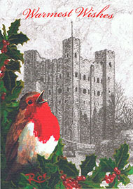 Snowy Rochester Castle Christmas Card
