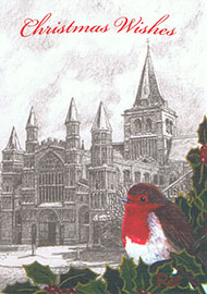 Snowy Rochester Cathedral Christmas Card